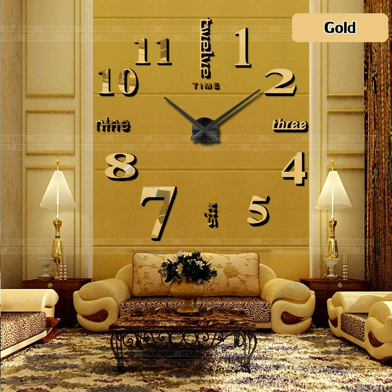 Clock Wall 3D DECORATIVE ADHESIVE Wall Clock Watch Acrylic Mirror ...